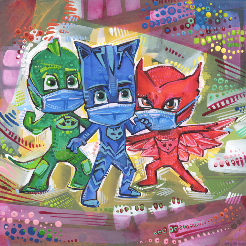 mixed media PJ Masks fan art of Gekko, Catboy, and Owlette wearing face coverings because of the pandemic