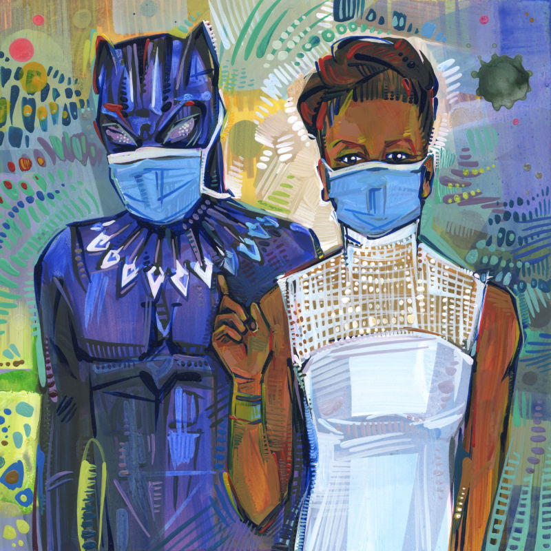 mixed media Black Panther fan art of T'Challa and Shuri wearing face coverings because of the pandemic
