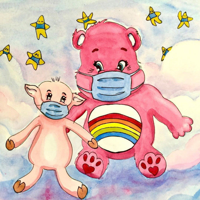 Care Bear fan art of Cheer Bear and Miss Pig wearing face coverings because of the pandemic