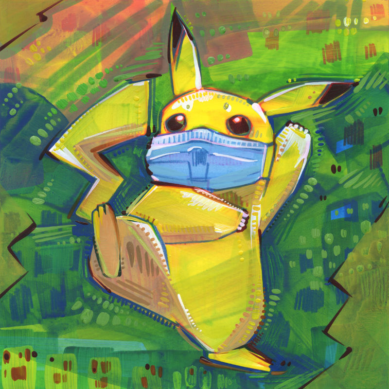 mixed media Pokémon fan art of Pikachu cringing and wearing a face covering because of the pandemic