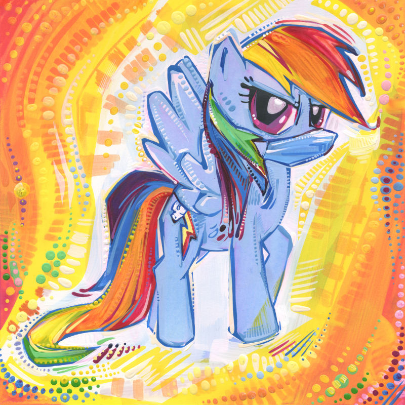 fan art Mon Petit Poney G4 de Rainbow Dash portant un masque à cause de la pandémie
