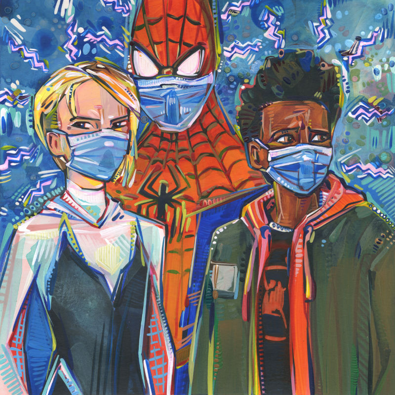 mixed media art showing Gwen Stacy, Peter Parker, and Miles Morales wearing masks because of the pandemic