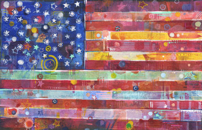 buy American flag painting with rainbow nuances