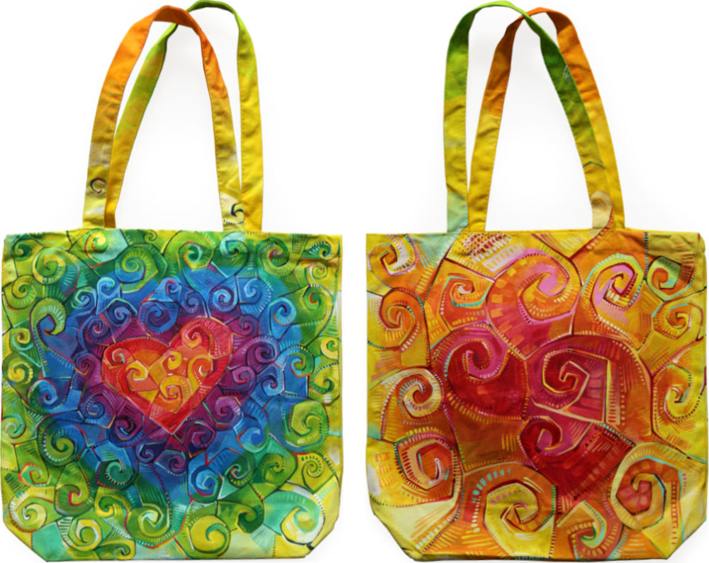 rainbow swirl heart painted directly on a canvas bag