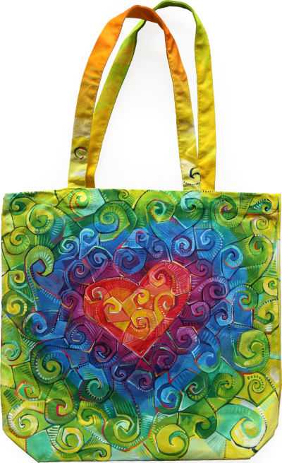 hand-painted tote with rainbow swirl design