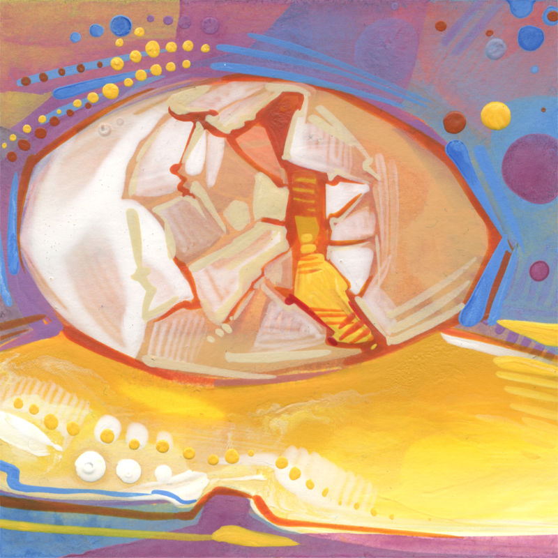 broken egg baking illustration in acrylic paint, marker, and colored pencil