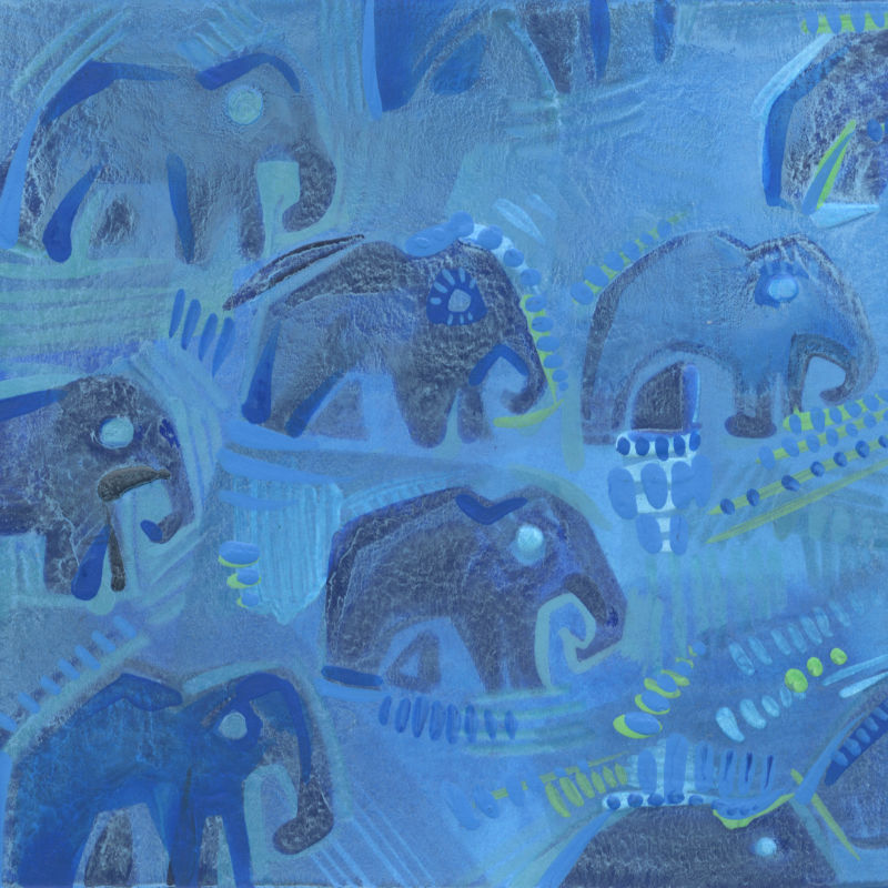design d'éléphants bleus, illustration par Gwenn Seemel