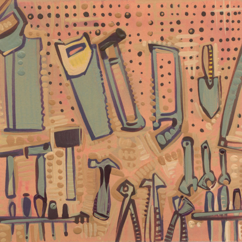 pegboard wall of saws, hammers, pliers, wrenches, and screwdrivers, illustration in acrylic and pencil