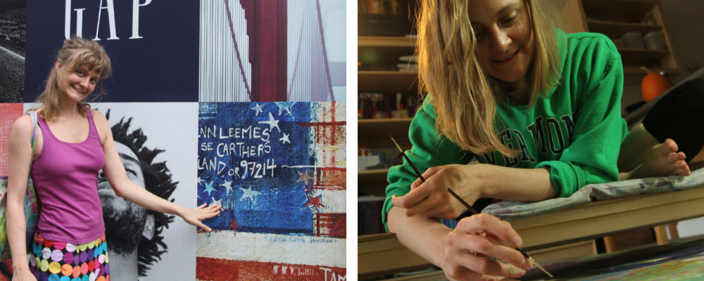 art by Gwenn Seemel in a Gap ad in Paris and the Portland painter in her studio in 2013