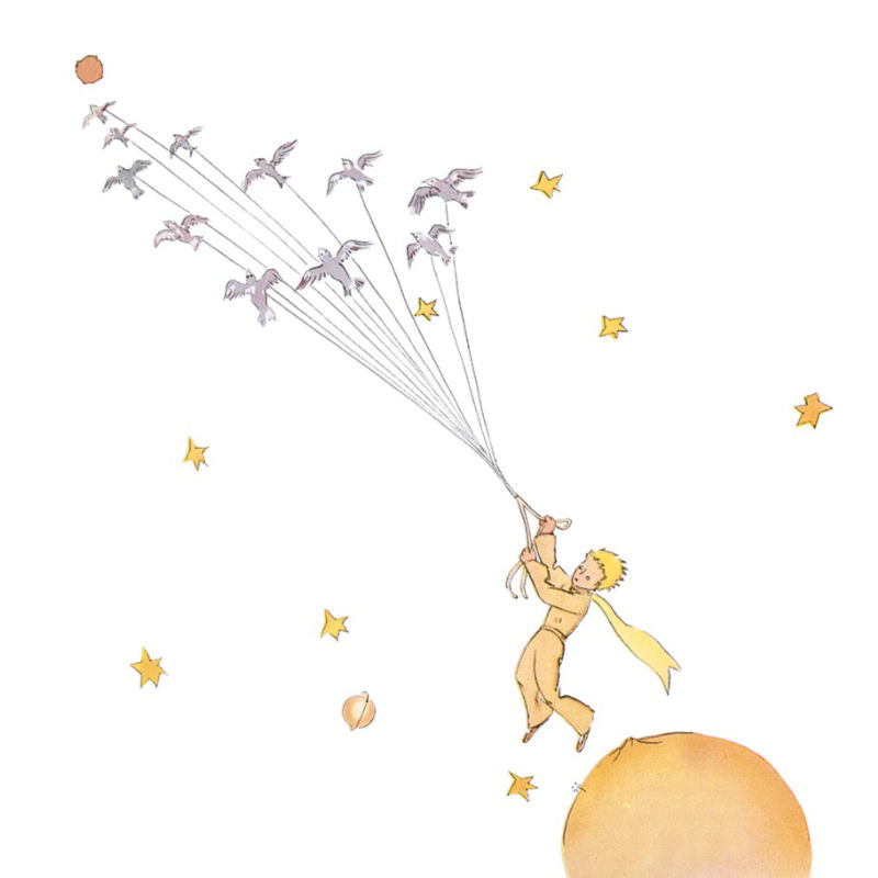 the Little Prince escaping with B 612, image by Antoine de Saint-Exupéry