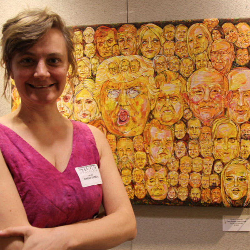 Gwenn Seemel at Studio Montclair opening at the Montclair Public Library