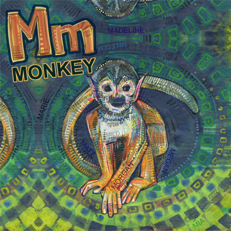 M is for Monkey, mock-up for Gwenn Seemel's ABC book