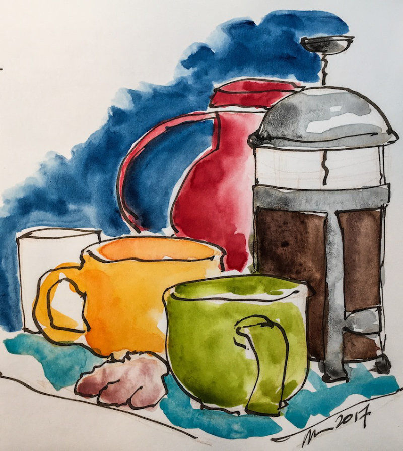 Kate Powell's watercolor of a French press full of coffee and some colorful mugs